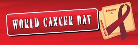 Symbol international holiday events February 4, Banner World Cancer Day. 向量圖像