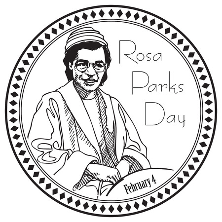 Stamp imprint for the holiday Rosa Parks Day. The event is marked on February 4 US. Illustration