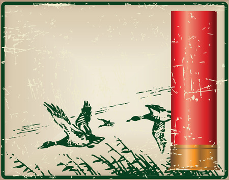 Old card for a hunter with a shotgun in the duck. Cartridges for the shotgun and flying ducks.