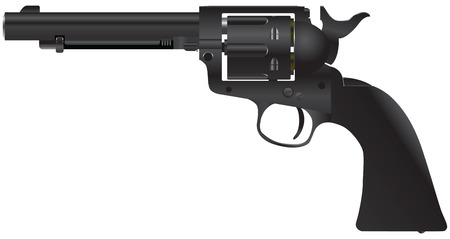 stainless steal: Revolver with a cylindrical drum  Illustration