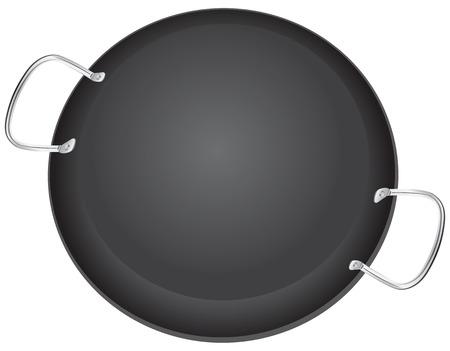 saute: Traditional pan for Italian dishes Paella. illustration.