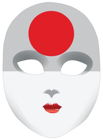 Abstract gezicht masker met de vlag van Japan.
