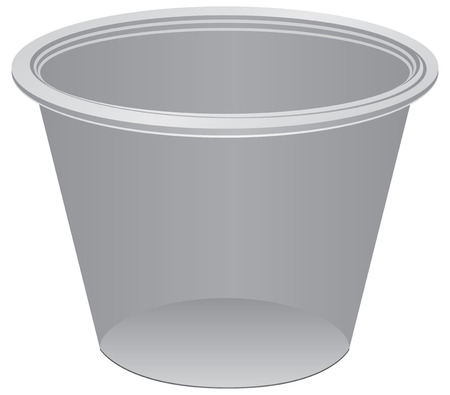 Transparent plastic container in the form of a cup, for medicines.