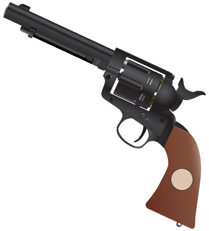 gun with a wooden handle and the drum for 6 rounds.
