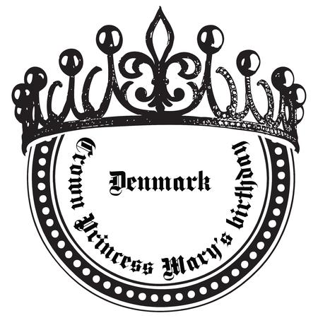 皇太子妃メアリーは誕生日のお祝いデンマークです。スタンプの押印。  イラスト・ベクター素材