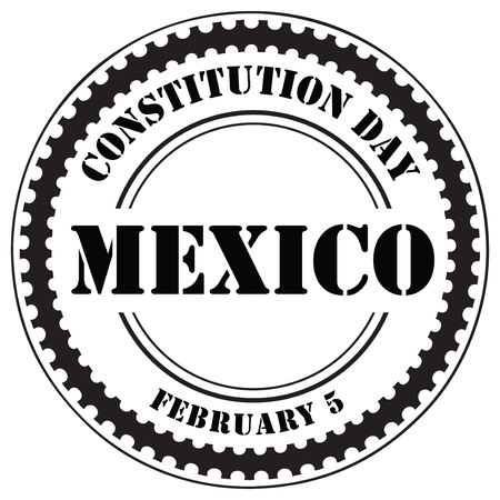 Stamp impression of the Mexican Constitution Day, February 5.