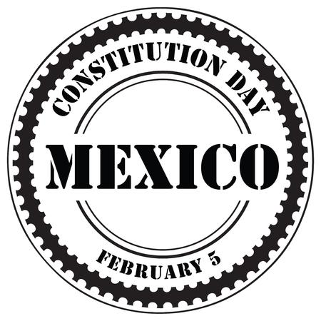 Sello de impresión del Día de la Constitución mexicana, 5 de febrero. Ilustración de vector