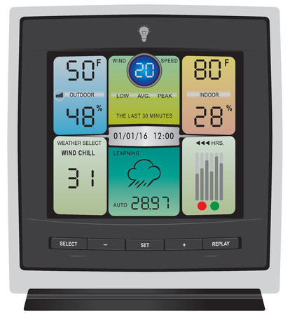 Das Display der modernen Gadget Wetterstation zu überwachen Wetter. Vektorgrafik