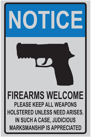 Welcome reminder for owners of firearms for offices and educational institutions. Stock fotó - 50996212