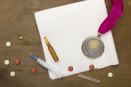 overuse: The use of doping for sports records. Doping set for victory. Stock Photo