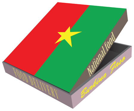 Symbolic box with national cuisine of the country of Burkina Faso. box food delivery.