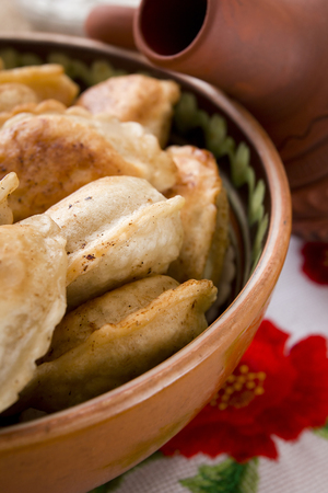 Dumplings - national food popular in Poland and Ukraine with various fillings. Stok Fotoğraf