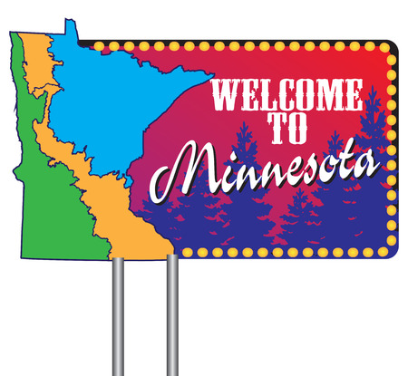 Welcome to Minnesota, road stand with a map of the state.