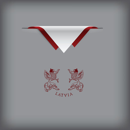 token: Latvia - a banner with the elements of the flag. Illustration