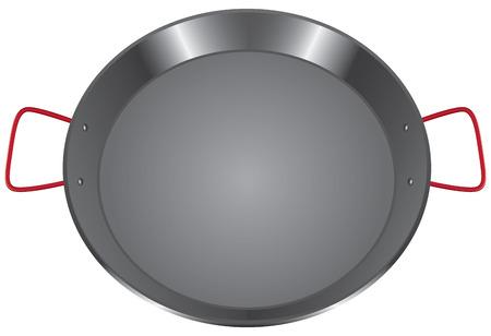 handles: Steel pan with two handles.