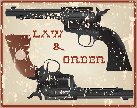 best protection: Law and Order, vintage card with two pistols.