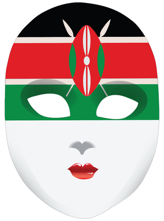 kenya: A symbolic mask of Kenya, with the flag as a bandana. Illustration