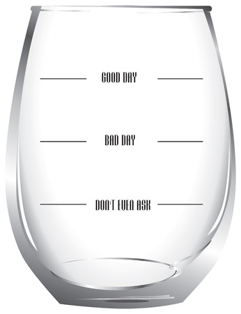 good bad: Glass control of alcohol from good to bad days. Illustration