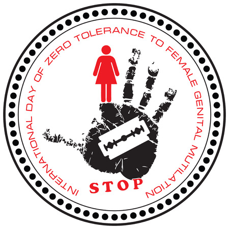 tolerance: Stamp Stop. International Day of Zero Tolerance to Female Genital Mutilation.