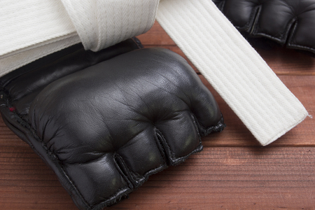 mixed martial arts: Guantes de cuero para combatir sin reglas y el boxeo. Foto de archivo