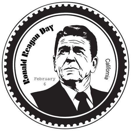 ロナルド ・ レーガンの日は、2 月 6 日に発生する認識の日です。スタンプ押印。