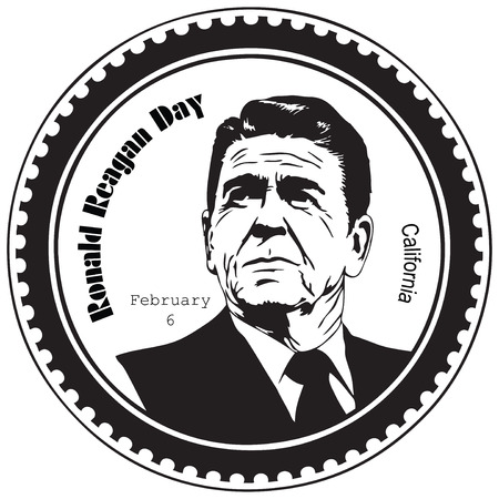 Ronald Reagan Day is a day of recognition that occurs every February 6. Stamp imprint.