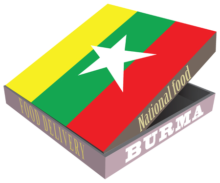 Symbolic box for delivery of food, with the national flag of Burma.