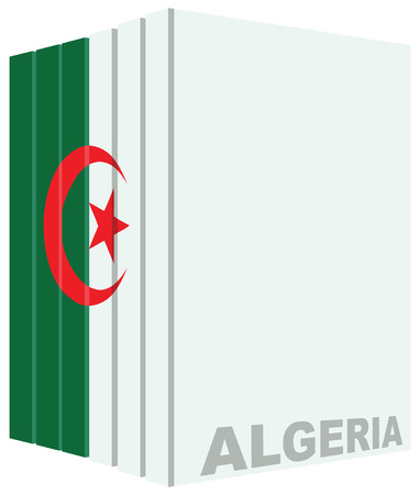 according: A set of books drawn in color according to the color of the flag of Algeria.