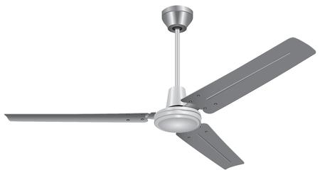 Ventilateur de plafond Trois lames blanc isolé sur fond blanc Banque d'images - 51747655