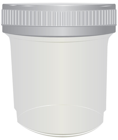 Plastic container for passing urine. Vector illustration.