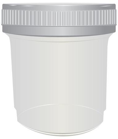 urine: Plastic container for passing urine. Vector illustration.
