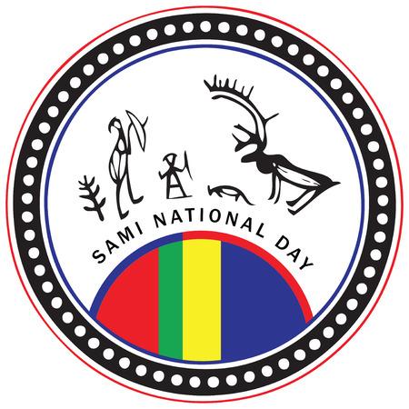 사미 기념일 2 월 축하의 상징 일러스트