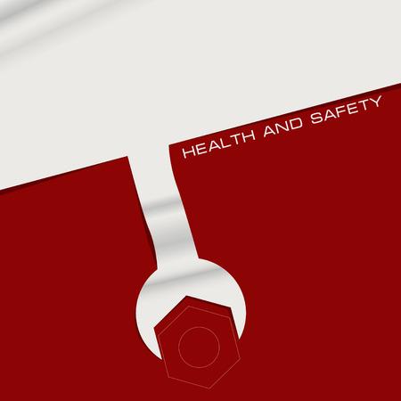 Creatieve banner gezondheid en veiligheid. Werken met de industrie gereedschappen
