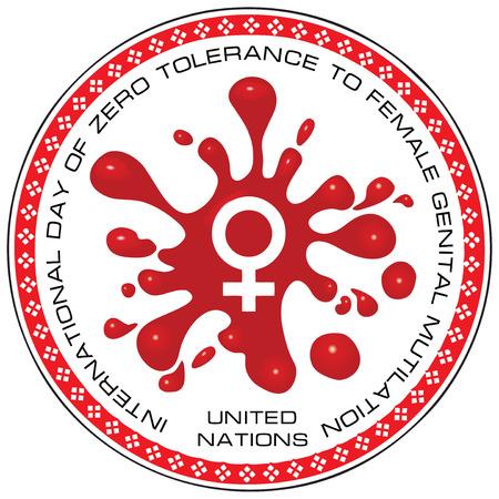 Timbro Giornata Internazionale della Tolleranza Zero alle mutilazioni genitali femminili. Nazioni unite.