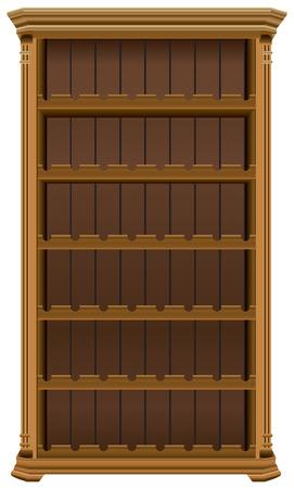 Wooden cabinet for wine bottles. Wine rack forty-eight bottles. Illustration