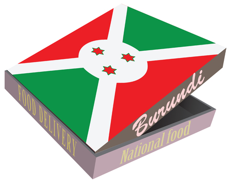 ashes: Symbolic box with national cuisine of the country of Burundi. Vector box food delivery. Illustration