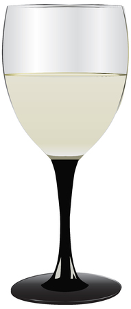 Glass of white wine. Wine glass on a black high leg.