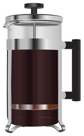 Coffee teapot with the press, and freshly brewed coffee. Ilustração