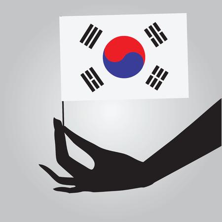 女性の手で韓国の旗。ベクトルの図。  イラスト・ベクター素材