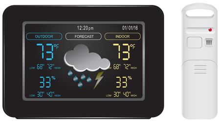 Das Farbdisplay und Sensor für Wetterstation Prognose. Vektorgrafik