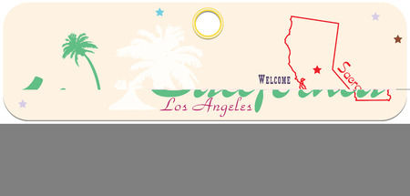 Welcome to California, the label with the symbols of the State of California.