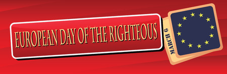 righteous: Banner for the European Day of the Righteous, March 6. Illustration