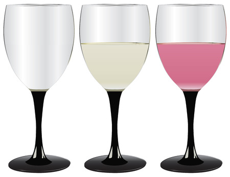 white riesling grape: Glasses of wine, empty, filled with white and pink drinks. Illustration