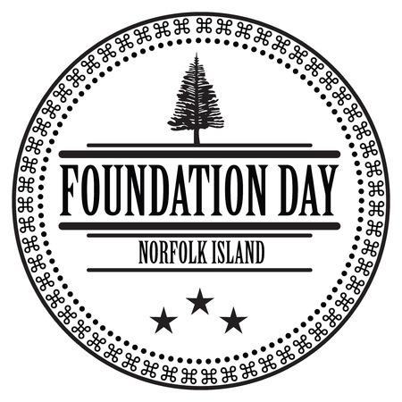 inprint: Stamp imprint of to celebrate the Foundation Day Norfolk Island. Illustration