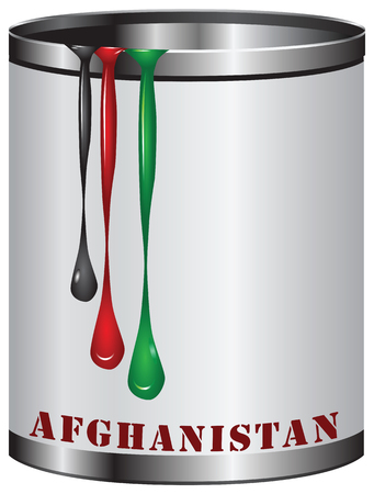 symbolic: Symbolic can, out of the paint with the colors of the flag of Afghanistan.