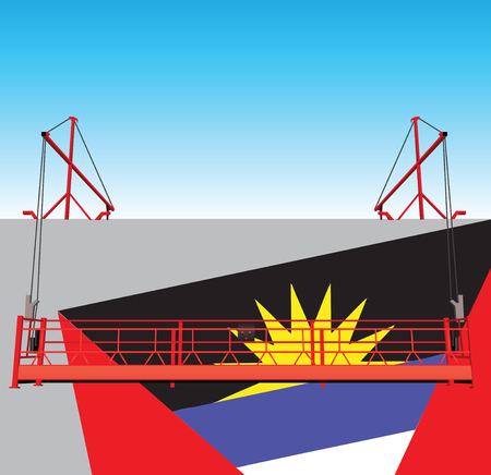 Wall industrial building with the flag of Antigua and Barbuda. Suspended construction gondola.