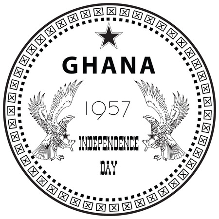inprint: Independence Day, celebrates the independence of Ghana from the United Kingdom in 1957. Stamp inprint.