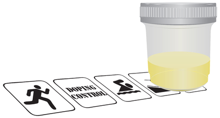 urine: Doping control in sports, the container filled with urine. Illustration