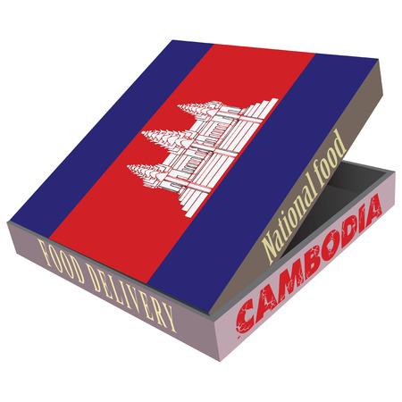 、カンボジアの国立料理の配達のための段ボール箱。