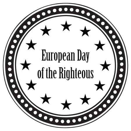 6th: Stamp print for the holiday March 6th, European Day of the Righteous. Illustration